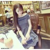 TE9337 New style stripes boat neck off shoulder slim waist dress