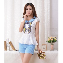 TE933NS New style slim transparent print tops with elegant shorts