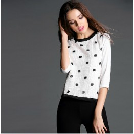 TE945NS Europe fashion grenadine embroidery three quarter sleeve tops