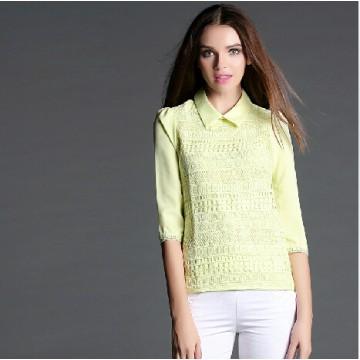 TE946NS Lace splicing lapel chiffon shirt
