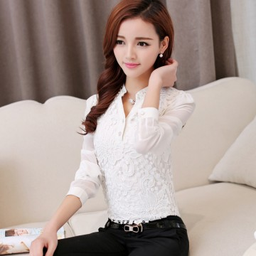 TE6682SOLO Korean fashion lace splicing long sleeve chiffon blouse