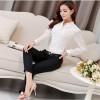 TE6682SOLO Korean fashion lace splicing long sleeve chiffon blouse