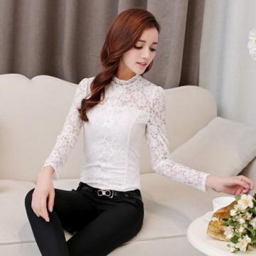 TE9502YJZJ Korean fashion temperament long sleeve lace tops