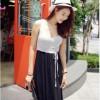 TE9531 Bowknot lacing waist color matching vest dress