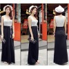 TE9531 Bowknot lacing waist color matching vest dress