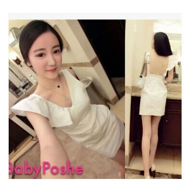 TE9585YBF Sexy v-neck one shoulder flouncing backless dress
