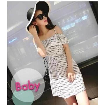 TE9598YBF Sexy tube top slim waist gallus flouncing dot dress