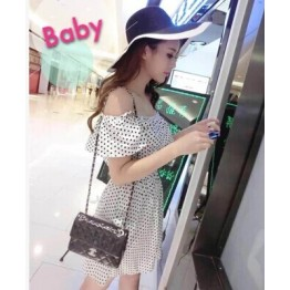 TE9598YBF Sexy tube top slim waist gallus flouncing dot dress