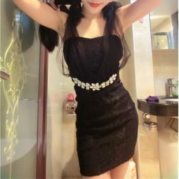 TE9715 New style club sexy slim temperament lace dress
