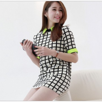 TE9825HES Korean fashion OL temperament checks chiffon shirt