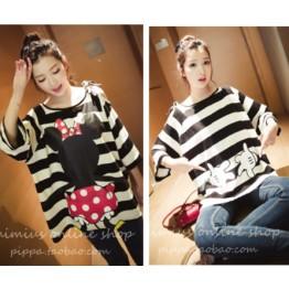 TE9898 Korean fashion cartoon print off shoulder stripes T-shirt