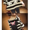 TE9898 Korean fashion cartoon print off shoulder stripes T-shirt