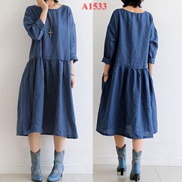 TEA1533 Vintage round neck loose casual long sleeve dress