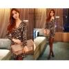TEA316 Sexy v-neck leopard long sleeve dress