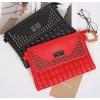 PBB8486 Fashion rivet sewing thread checks clutch bag
