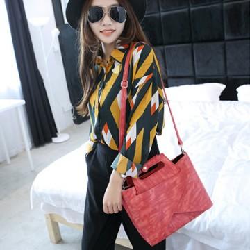 PBB8487 Fashion vintage print Korean and Japanese trendy handbag