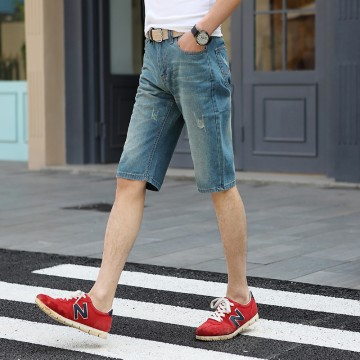 TE303ZSS Korean style trendy casual half long mens jeans