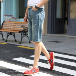 TE303ZSS Korean style trendy casual half long mens jeans