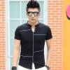 TE3708KDF Korean fashion mens stand collar t-shirt