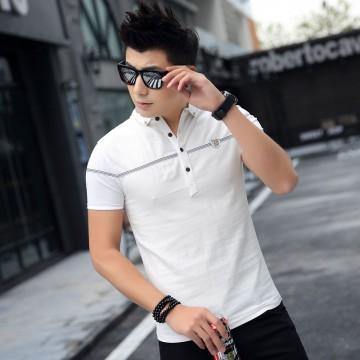 TE3712KDF Korean fashion mens close fitting stand collar t-shirt