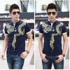 TE9117KDF Chinese style tattoo dragon pattern mens t-shirt