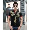 TE9117KDF Chinese style tattoo dragon pattern mens t-shirt