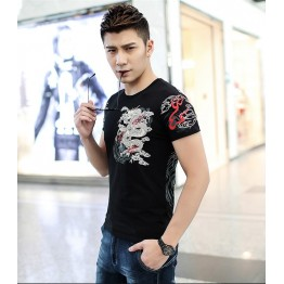 TE9120KDF Chinese style rhinestone dragon pattern mens t-shirt