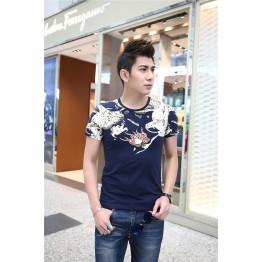 TE9121KDF Chinese style rhinestone dragon head pattern mens t-shirt