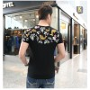 TE9123KDF Chinese style personality cyprinoid pattern mens t-shirt