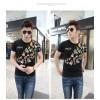 TE9123KDF Chinese style personality cyprinoid pattern mens t-shirt