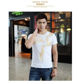 TE9130KDF Chinese style dragon tattoo print mens t-shirt