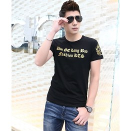 TE9134KDF Chinese style gilding tight head pattern mens t-shirt