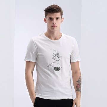 TE1624LDZ New style casual print slim men short sleeve t-shirt