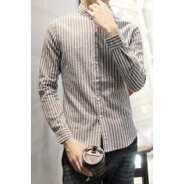 TEC210WLHY Stripes slim trendy men long sleeve shirt