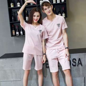 TED128SBL New style v neck lovers short sleeve tracksuit