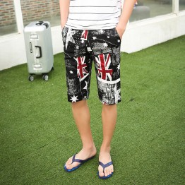 TEK516WLHY Nostalgia Union Jack print half long men beach shorts