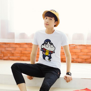 TET352WLHY Japanese cartoon applique hot sale slim men t-shirt