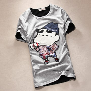 TET353WLHY Japanese cartoon applique slim men t-shirt