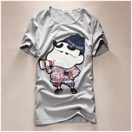 TET353WLHY Japanese cartoon applique slim men t-shirt