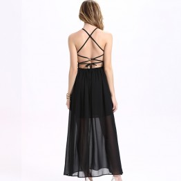 TE2098OMSS Europe fashion sexy backless lacing halter chiffon maxi dress