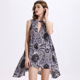 TE2099OMSS Europe fashion deep v neck sleeveless wide hem dress