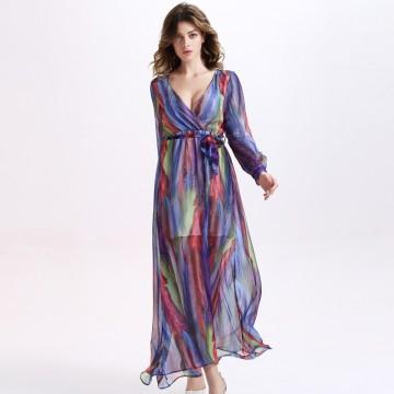 TE2137OMSS Europe fashion colorful stripes imitation silk long sleeve lacing dress
