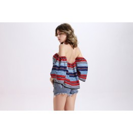 TE2154OMSS Europe fashion boat neck boob tube top flouncing stripes print tops