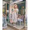 TE3036YZS Casual print lacing slim waist loose dress