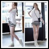 TE3039YZS Black and white stripes tight hip vest dress with batwing sleeve tops
