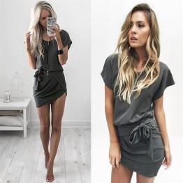 TE336LWWL Hot sale sexy irregular slim lacing waist dress