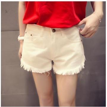 TE5125DDFS Joker slim pocket pure color rough edge denim shorts
