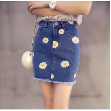 TE5126DDFS Joker slim flowers embroidery empire waist tight hip denim skirt