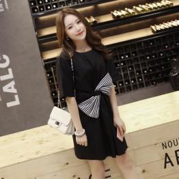 TE6416YZS Black and white stripes bowknot large size dress