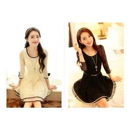 TE6418YZS Hot sale lace splicing bowknot slim waist elegant dress